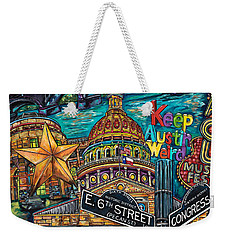 Weekender Tote Bag featuring the painting Austin Montage by Patti Schermerhorn