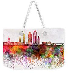 Austin Skyline In Watercolor Background Weekender Tote Bag by Pablo Romero