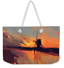 Weekender Tote Bag featuring the painting Autumn Indian Summer Windmill Holland by Nop Briex