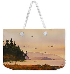Weekender Tote Bag featuring the painting Autumn Shore by James Williamson