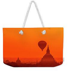 Bagan Pagodas And Hot Air Balloon Weekender Tote Bag