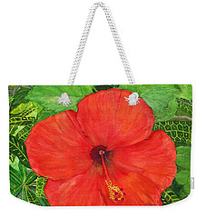 Weekender Tote Bag featuring the painting Balinese Hibiscus Rosa by Melly Terpening