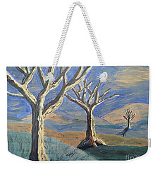 Weekender Tote Bag featuring the painting Bare Trees by Judy Via-Wolff