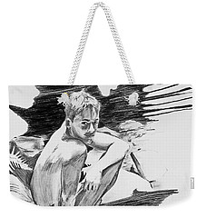 Weekender Tote Bag featuring the painting Bathed In White Light by Rene Capone
