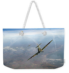 Weekender Tote Bag featuring the photograph Battle Of Britain Spitfires Over Kent by Gary Eason