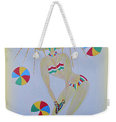 Weekender Tote Bag featuring the painting Beach Ball Surfer by Marie Schwarzer