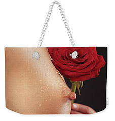 Beautiful Woman Breast And A Red Rose Weekender Tote Bag