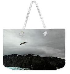 Weekender Tote Bag featuring the photograph Bird Over Glacier - Alaska by Madeline Ellis