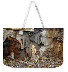 Weekender Tote Bag featuring the photograph Bizarre Mineral Formations In Stalactite Cavern by Michal Boubin