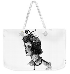 Weekender Tote Bag featuring the mixed media Black And White Watercolor Fashion Illustration by Marian Voicu