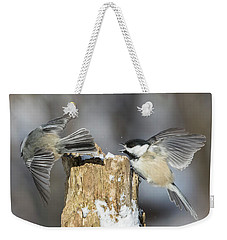 Weekender Tote Bag featuring the photograph Black-capped Chickadee In Winter by Mircea Costina Photography