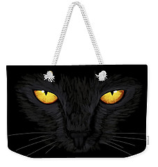Weekender Tote Bag featuring the painting Superstitious Cat by Anastasiya Malakhova