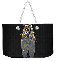 Black Cicada With Gold Accents On Black Canvas Weekender Tote Bag by Serge Averbukh