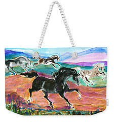 Black Pony Weekender Tote Bag by Mary Armstrong