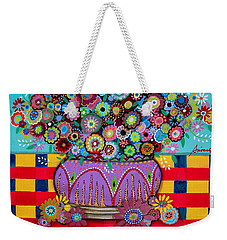 Weekender Tote Bag featuring the painting Blooms by Pristine Cartera Turkus
