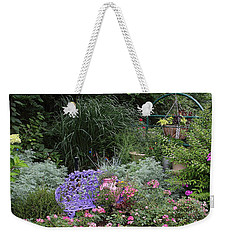 Blue Garden Bench Weekender Tote Bag
