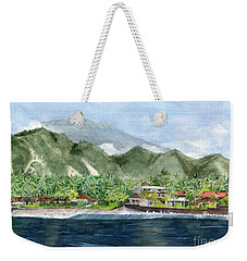 Weekender Tote Bag featuring the painting Blue Lagoon Bali Indonesia by Melly Terpening