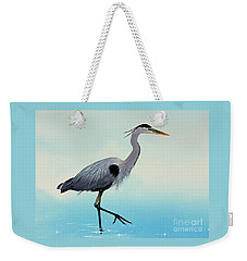 Weekender Tote Bag featuring the painting Blue Water Heron by James Williamson