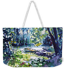 Weekender Tote Bag featuring the painting Boat by Kovacs Anna Brigitta