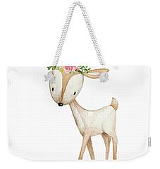 Boho Woodland Baby Nursery Deer Floral Watercolor Weekender Tote Bag