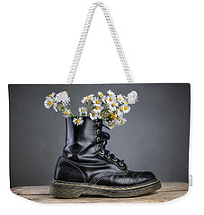 Boots With Daisy Flowers Weekender Tote Bag