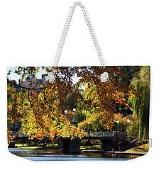Weekender Tote Bag featuring the photograph Boston Public Garden - Lagoon Bridge by Joann Vitali