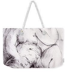 Weekender Tote Bag featuring the sculpture Brownie Sitting  by Robert F Battles
