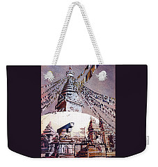 Weekender Tote Bag featuring the painting Buddhist Stupa- Nepal by Ryan Fox