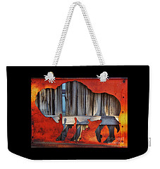Wooden Buffalo 1 Weekender Tote Bag by Larry Campbell