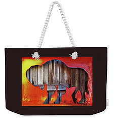 Weekender Tote Bag featuring the photograph Wooden Buffalo 2 by Larry Campbell