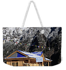 Weekender Tote Bag featuring the photograph Meeting Point Mountain Restaurant by Aidan Moran