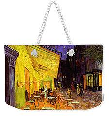 Weekender Tote Bag featuring the painting Cafe Terrace At Night by Van Gogh