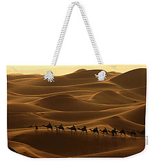 Camel Caravan In The Erg Chebbi Southern Morocco Weekender Tote Bag by Ralph A  Ledergerber-Photography