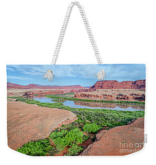 Canyon Of Colorado River In Utah Aerial View Weekender Tote Bag