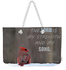 Cardinal In The Snowstorm With Scripture Weekender Tote Bag by Sandi OReilly