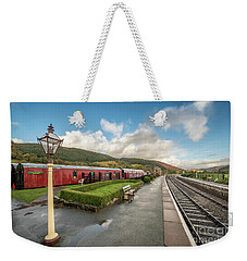 Weekender Tote Bag featuring the photograph Carrog Railway Station by Adrian Evans