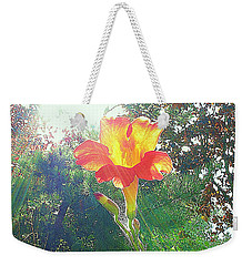 Weekender Tote Bag featuring the photograph Cayuga Park Flower by John King