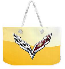 Chevrolet Corvette 3d Badge On Yellow Weekender Tote Bag