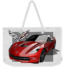 Chevrolet Corvette  C 7  Stingray With 3 D Badge  Weekender Tote Bag