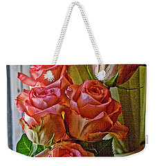 Weekender Tote Bag featuring the photograph Cindy's Roses by Bonnie Willis