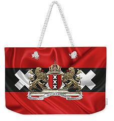 Coat Of Arms Of Amsterdam Over Flag Of Amsterdam Weekender Tote Bag by Serge Averbukh