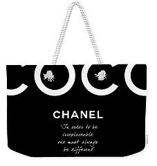 Coco Chanel Irreplaceable Quote Weekender Tote Bag