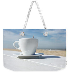 Weekender Tote Bag featuring the photograph Coffee On The Beach by Patricia Hofmeester