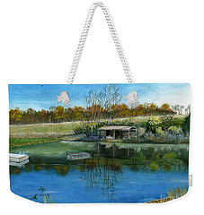 Weekender Tote Bag featuring the painting Cole Hill Pond by Melly Terpening
