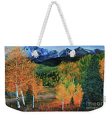 Weekender Tote Bag featuring the painting Colorado Aspens by Jeanette French