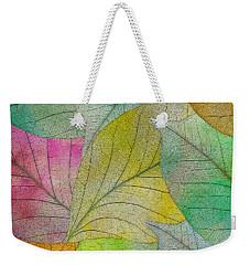 Weekender Tote Bag featuring the digital art Colorful Leaves by Klara Acel