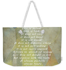 1 Corinthians 13 4-8 Love Is Patient Love Is Kind Wedding Verses. Great Gift For Men Or Home Decor. Weekender Tote Bag