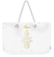 Weekender Tote Bag featuring the digital art 1 Corinthians 13 Love Is White Background by Rose Santuci-Sofranko