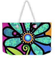 Cosmic Daisy In Aqua Weekender Tote Bag