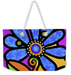 Cosmic Daisy In Blue Weekender Tote Bag